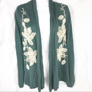 Knitted & Knotted floral cardigan sweater medium